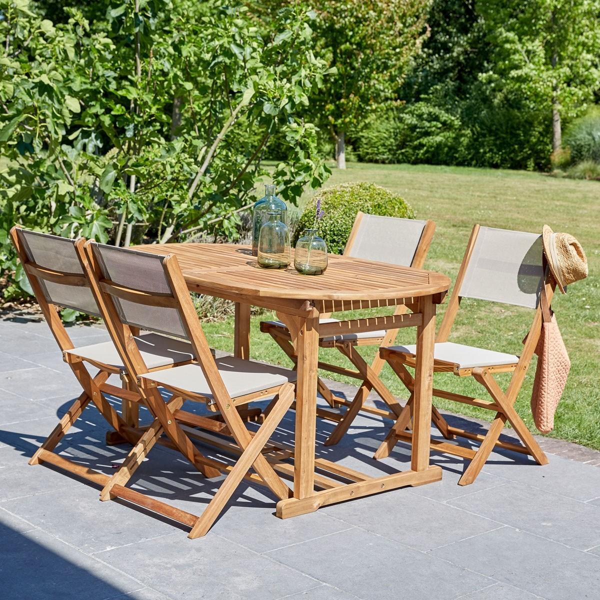 Salon de jardin en bois d 39 acacia et textil ne bois dessus bois dessous - Salon de jardin acacia et alu ...
