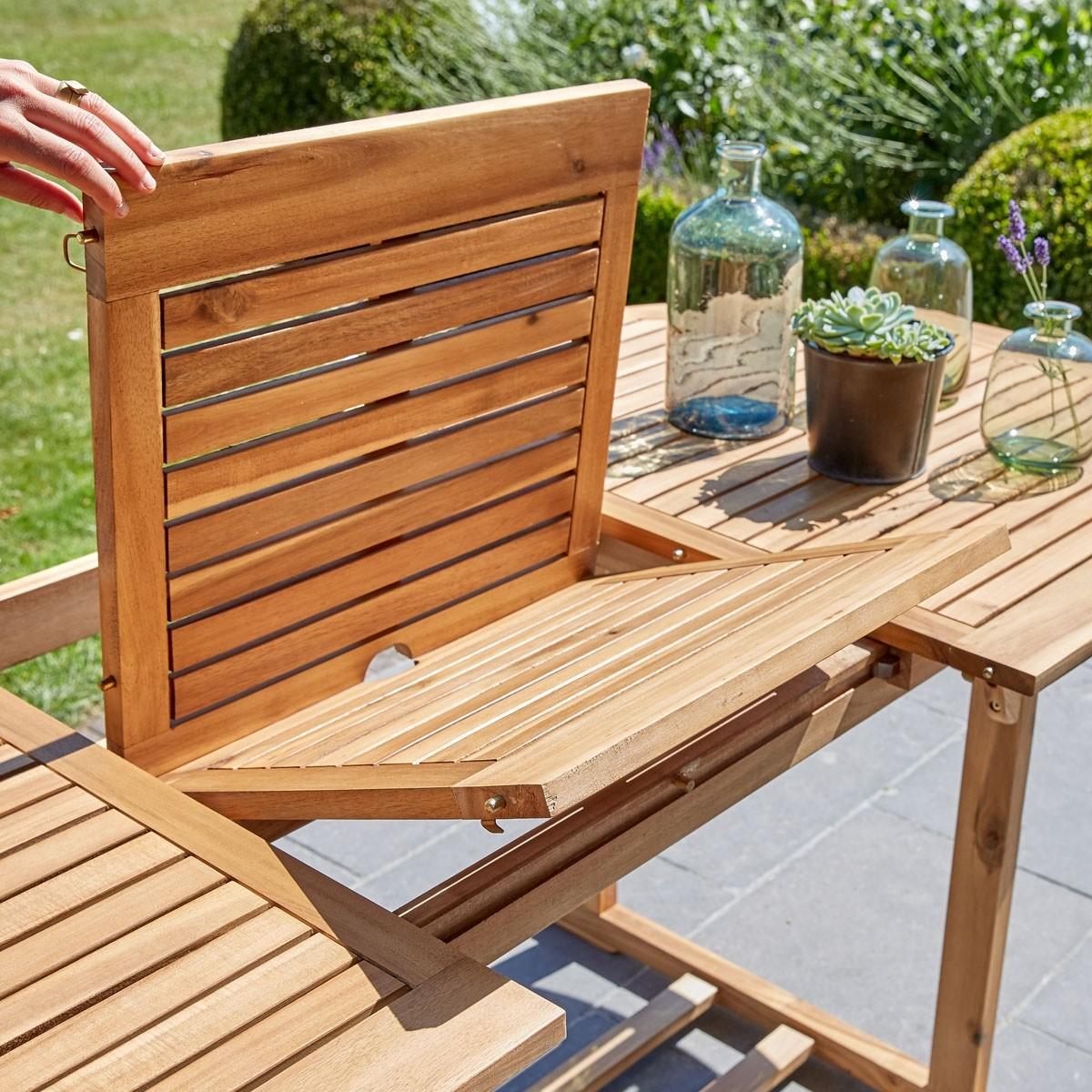 Salon de jardin en bois d\'acacia FSC et textilène - Bois dessus ...