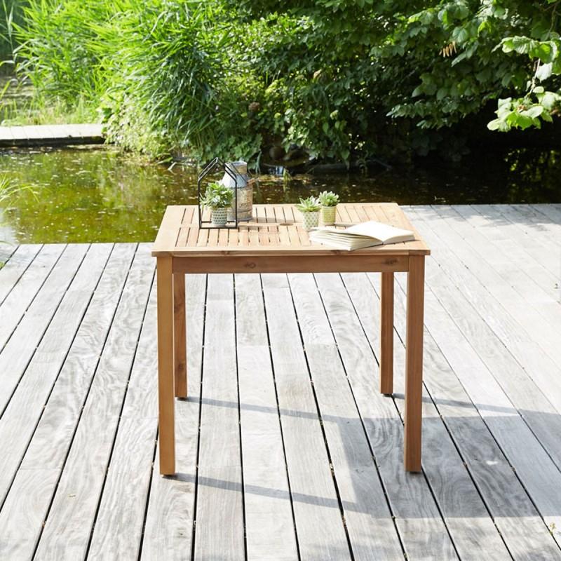 Table carrée en bois d'acacia