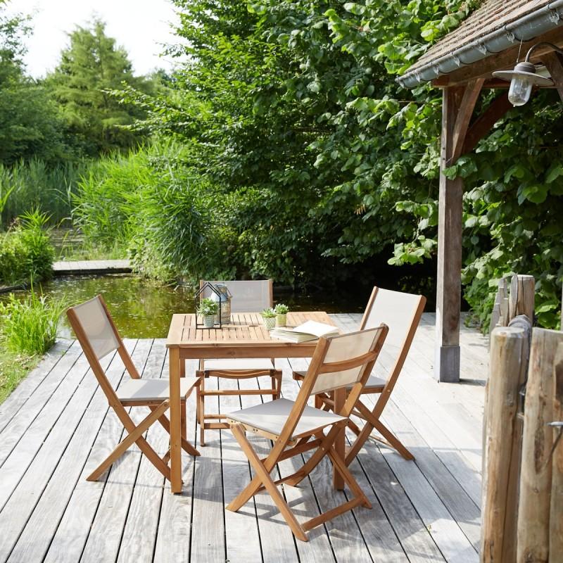 Salon de jardin en bois d\'acacia FSC 4 places | Bois Dessus Bois Dessous