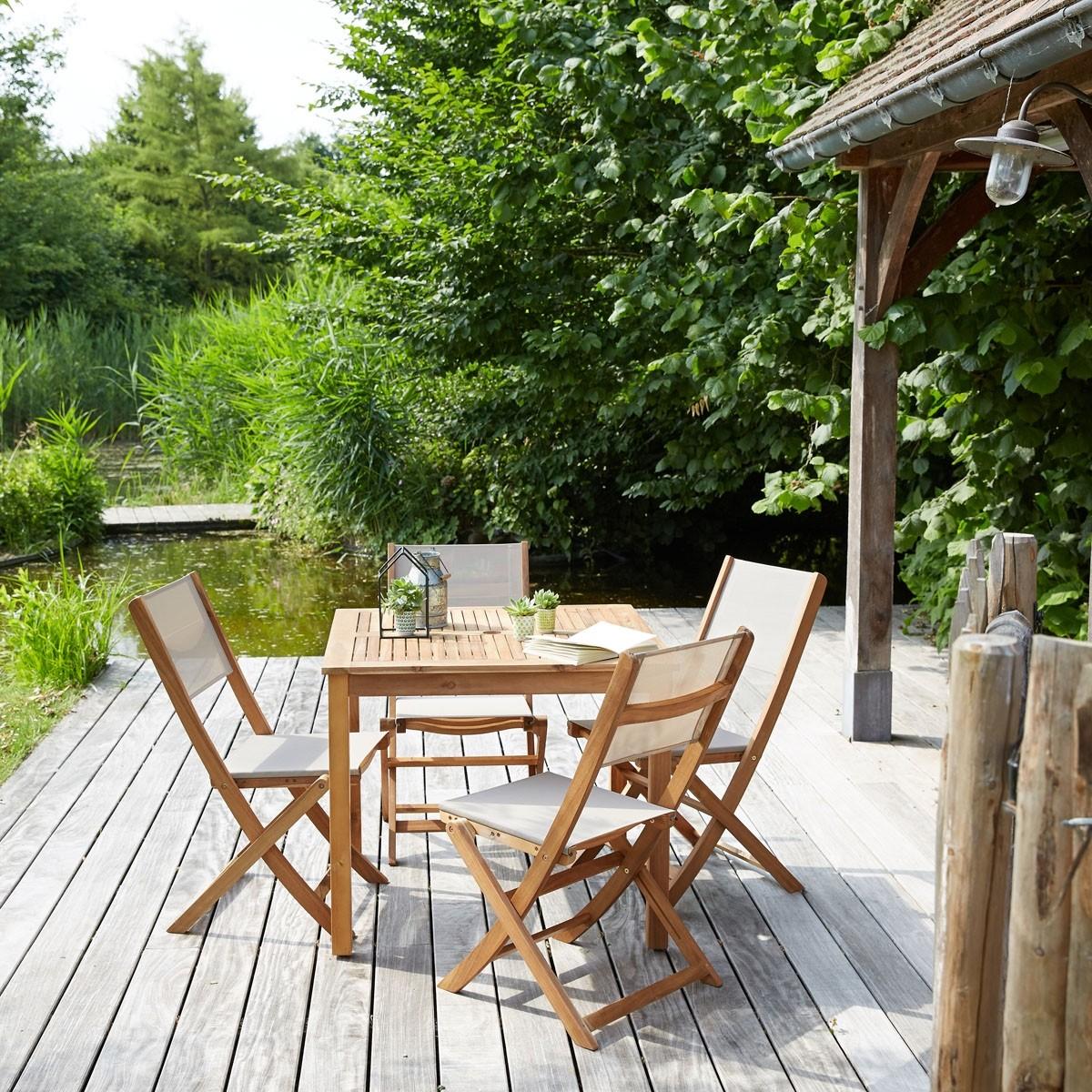Salon de jardin en bois d\'acacia FSC 4 places - Bois dessus bois ...