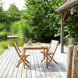 Salon de jardin en bois d\'acacia FSC gris 2 places HANOÏ