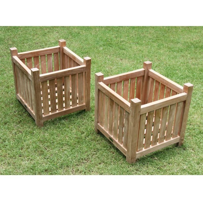Lot de 2 jardinières carrées en bois de teck MIDLAND 45 cm