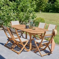 Salon de jardin en bois d\'acacia FSC gris rallonges 6/8 places HANOÏ