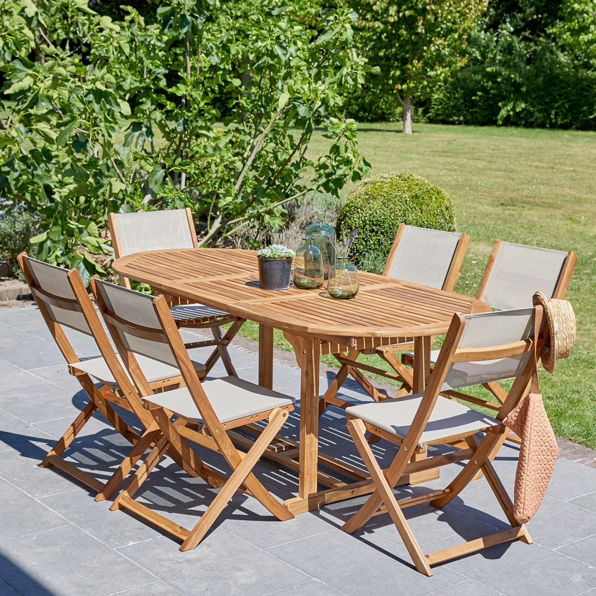 Salon de jardin en bois d\'acacia FSC gris rallonges 6/8 ...