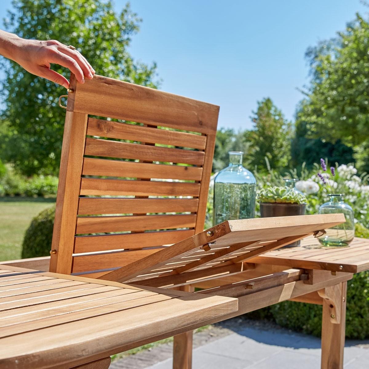 Salon de jardin en bois d\'acacia FSC gris rallonges 6/8 places HANOÏ ...