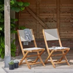 Lot de 2 chaises en bois d'acacia et textilène