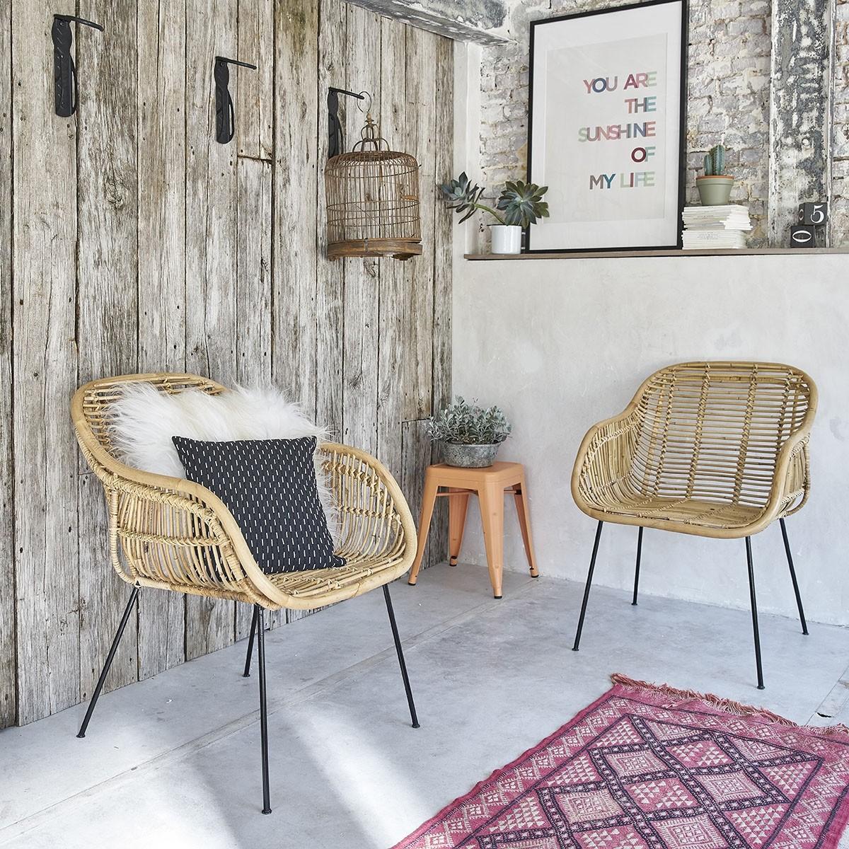lot de 2 chaises en rotin et m tal bois dessus bois dessous. Black Bedroom Furniture Sets. Home Design Ideas