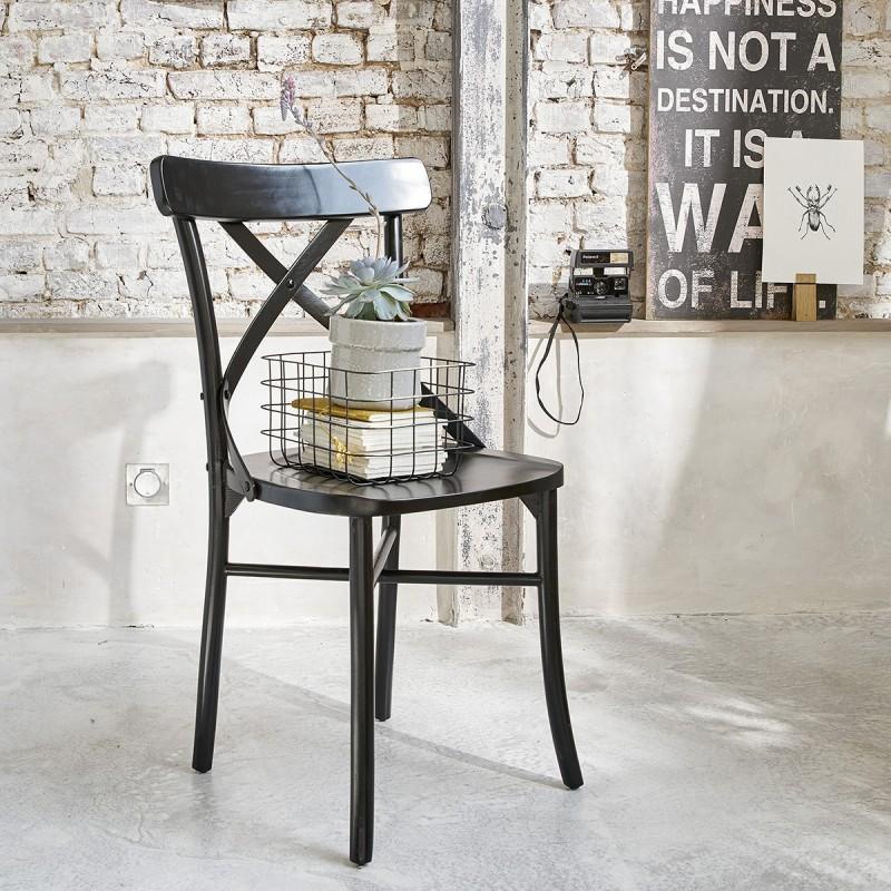chaise bistrot en bois d 39 acajou londres noire bois. Black Bedroom Furniture Sets. Home Design Ideas