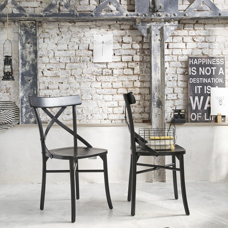Lot de 2 chaises noires bistrot en bois d'acajou LONDRES