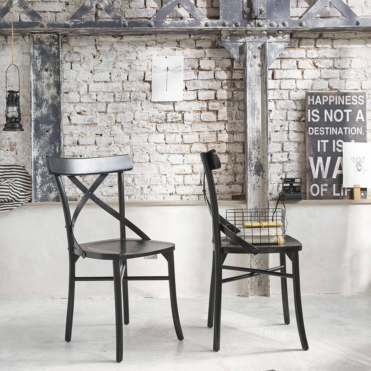 lot de 2 chaises noires bistrot en bois d 39 acajou londres bois dessus bois dessous. Black Bedroom Furniture Sets. Home Design Ideas