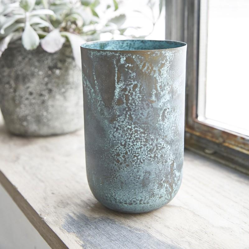 Vase vieilli turquoise metal