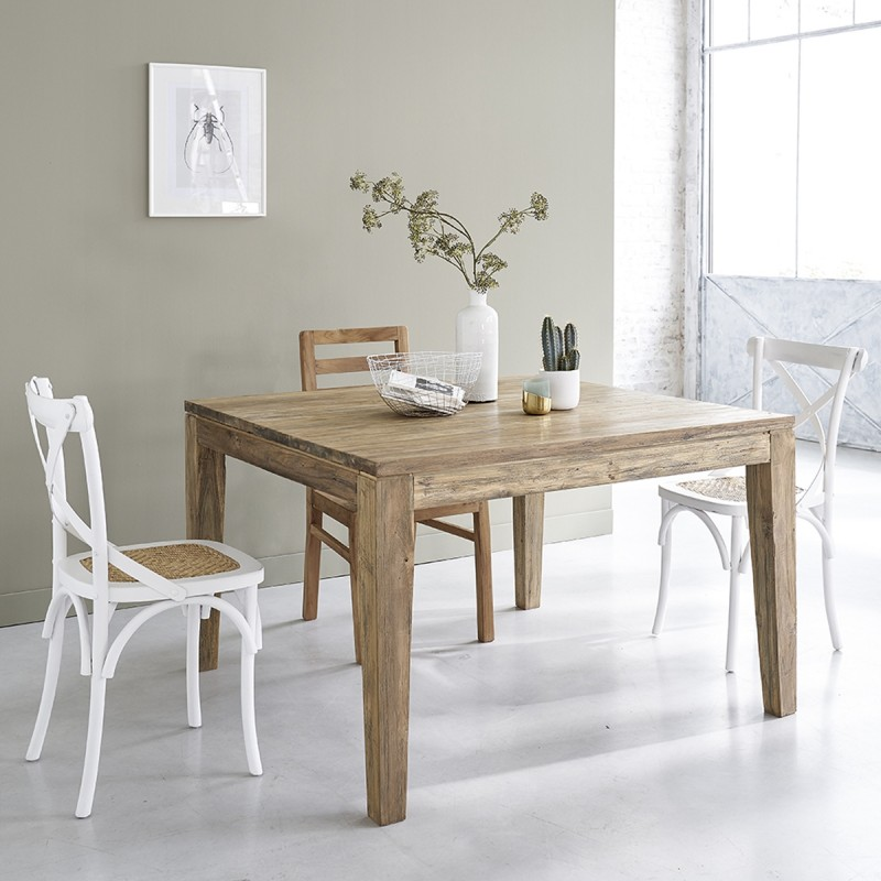 Table en bois de teck recyclé carrée 120 avec rallonges CARGO