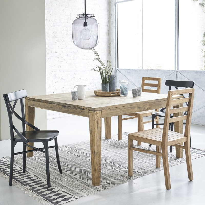 table en bois de teck recycl carr e avec rallonges 12 personnes cargo bois dessus bois dessous. Black Bedroom Furniture Sets. Home Design Ideas