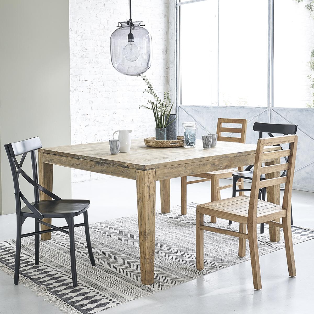 Table Salle A Manger Carré Avec Rallonge table en bois de teck recyclé carrée rallonges 12 personnes