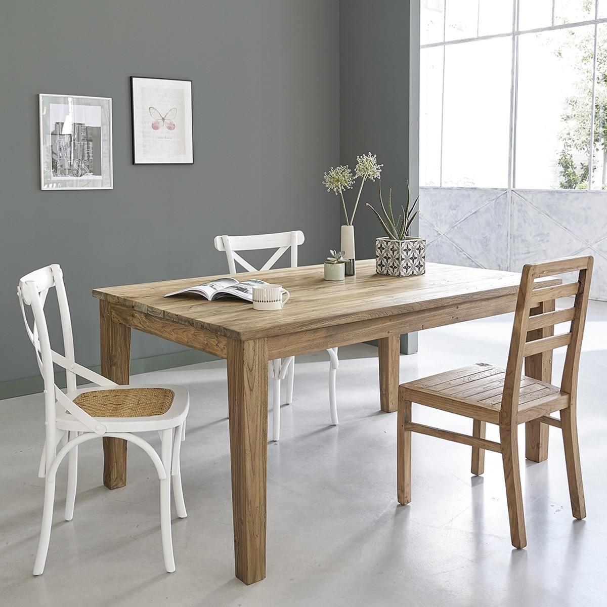 Table en bois de teck recycl avec rallonges cargo 160 250 - Table salle a manger teck ...