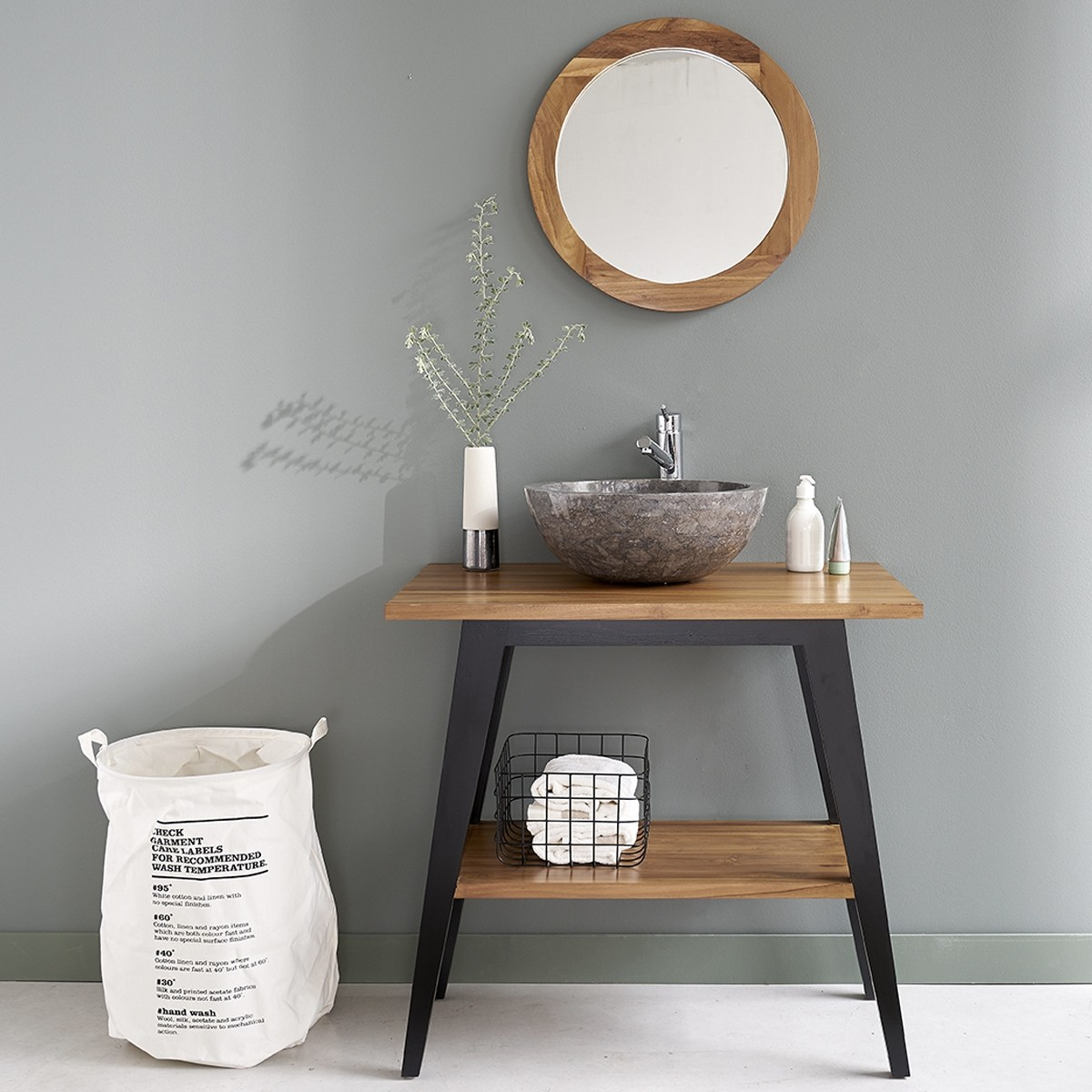 Meuble de salle de bain en bois de teck 80 bois dessus for Meuble salle de bain bois teck