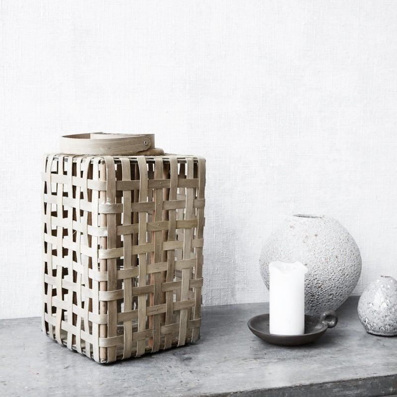 Lanterne bambou et verre GM