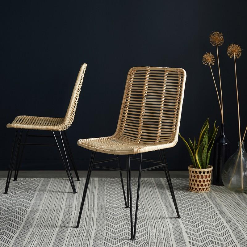 Lot de 2 chaises en rotin et pieds métal
