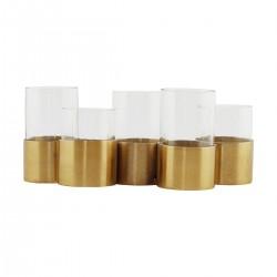 Vase, bougeoir, centre de table dore et verre
