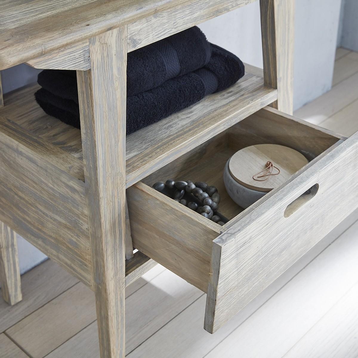 Meuble de salle de bain en bois d 39 h v a 70 bois dessus - Meuble salle de bain 70 cm largeur ...