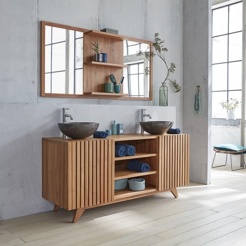 meuble de salle de bain en bois de teck 160 bois dessus bois dessous. Black Bedroom Furniture Sets. Home Design Ideas