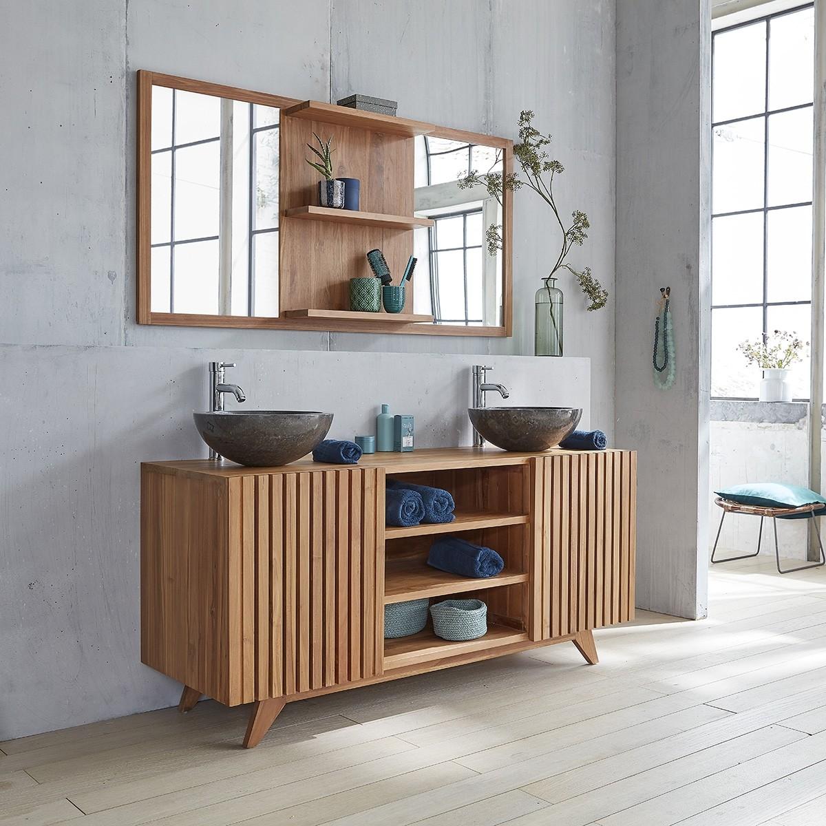 Meuble de salle de bain en bois de teck 160 bois dessus bois dessous - Meuble de salle de bain sous vasque ...