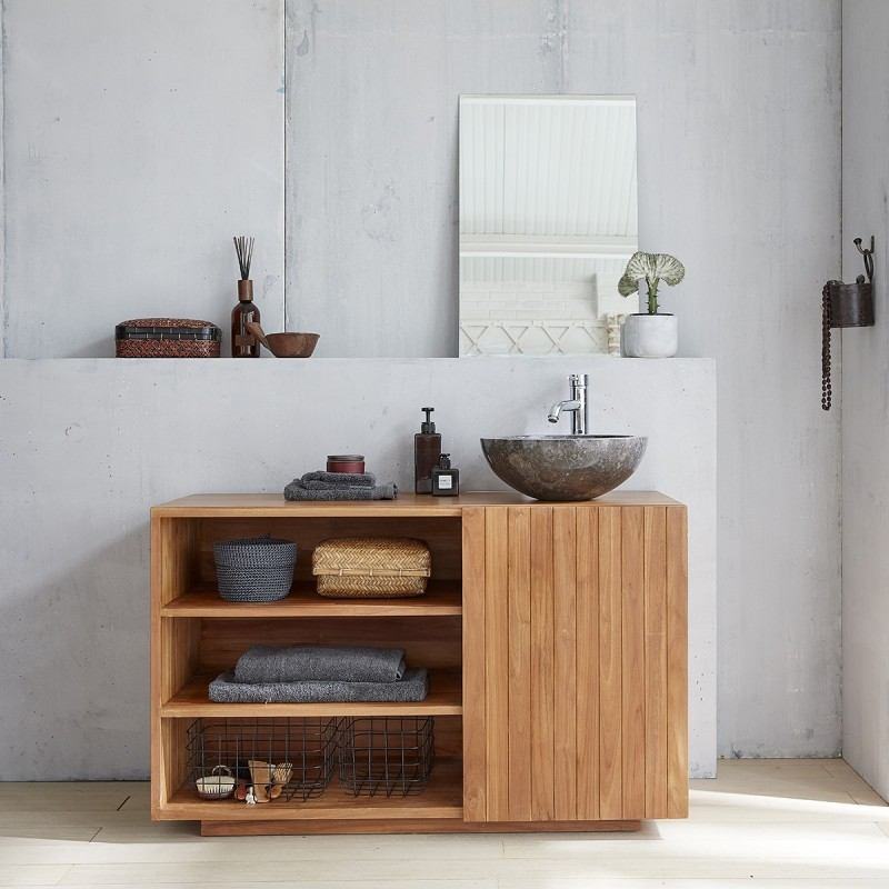 Meuble de salle de bain en bois de teck 120
