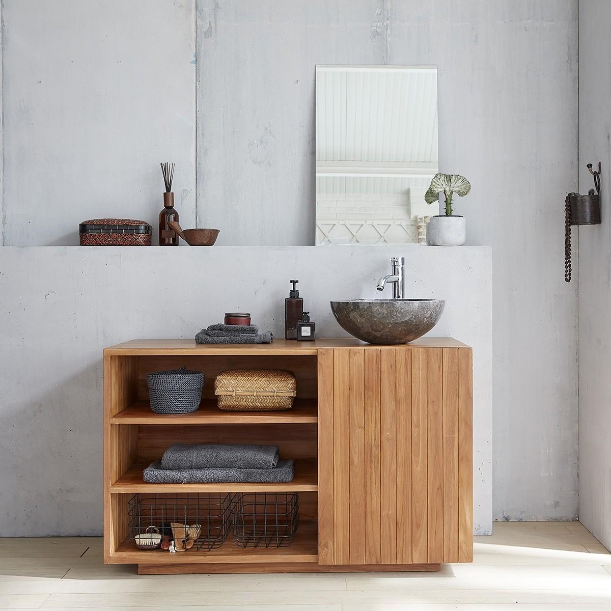 meuble de salle de bain en bois de teck 120 bois dessus bois dessous. Black Bedroom Furniture Sets. Home Design Ideas