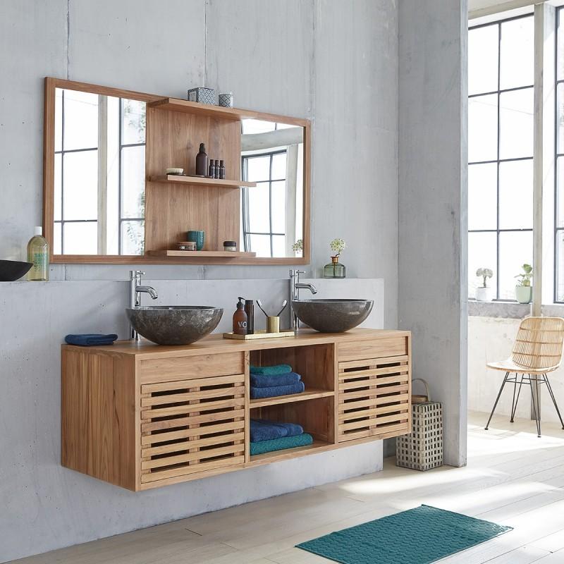 Meuble de salle de bain en bois de teck suspendu 160 - Bois Dessus Bois  Dessous