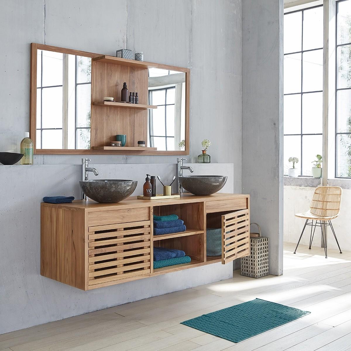 meuble de salle de bain en bois de teck suspendu 160 bois dessus bois dessous. Black Bedroom Furniture Sets. Home Design Ideas