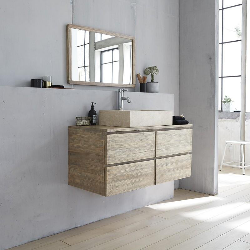 Meuble de salle de bain suspendu en bois d 39 h v a 100 - Meuble salle de bain 100 cm ...
