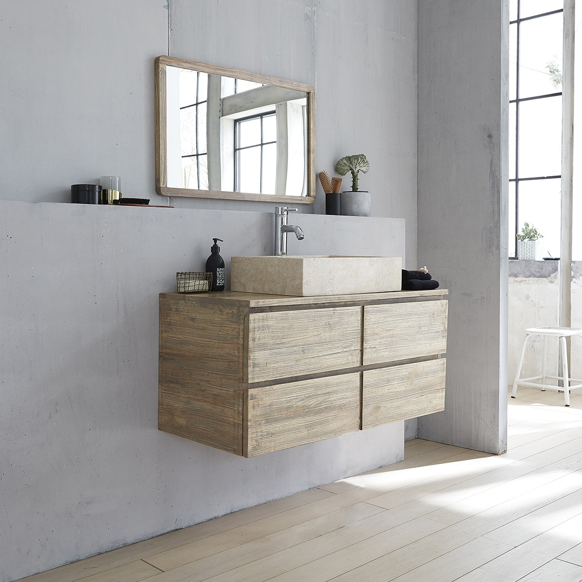 meuble de salle de bain suspendu en bois d 39 h v a 100 bois dessus bois dessous. Black Bedroom Furniture Sets. Home Design Ideas