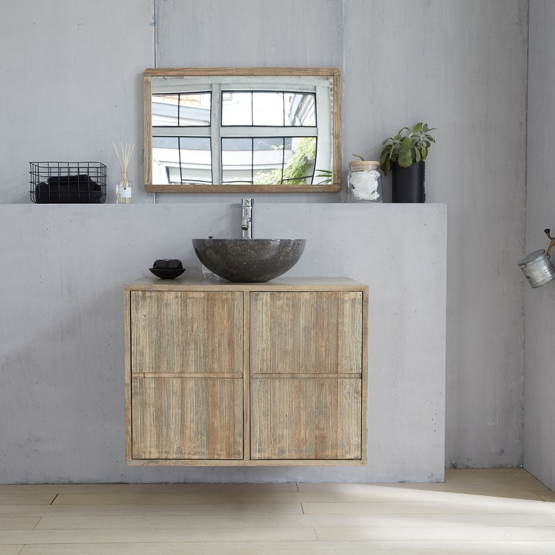 Meuble suspendu de salle de bain en bois d'hévéa 80