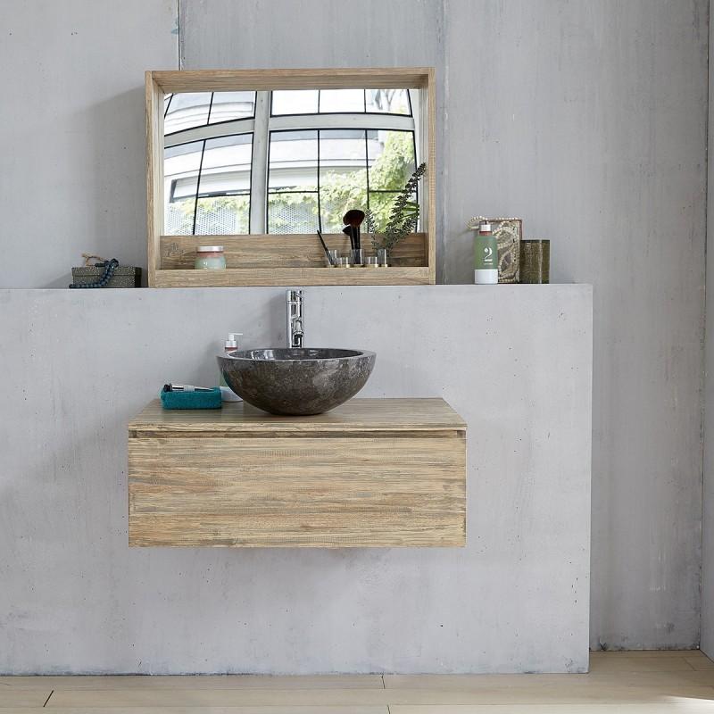 Meuble suspendu de salle de bain en bois d'hévéa 1 tiroir
