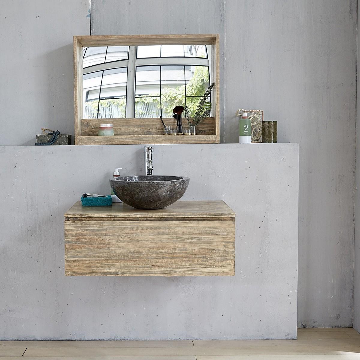 meuble de salle de bain en bois d 39 h v a suspendu 80 bois dessus bois dessous. Black Bedroom Furniture Sets. Home Design Ideas