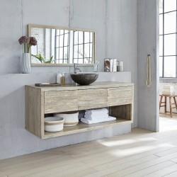 Meuble de salle de bain en bois d'hévéa 150
