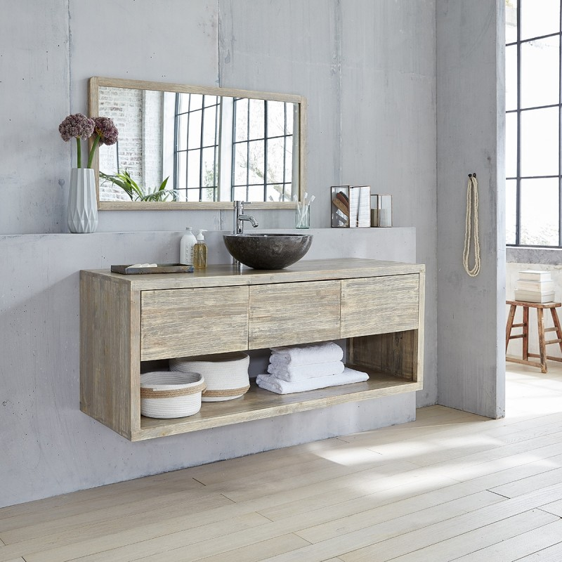 meuble de salle de bain en bois d 39 h v a suspendu 150 bois dessus bois dessous. Black Bedroom Furniture Sets. Home Design Ideas