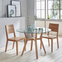Table ronde vitrée en bois de teck 110