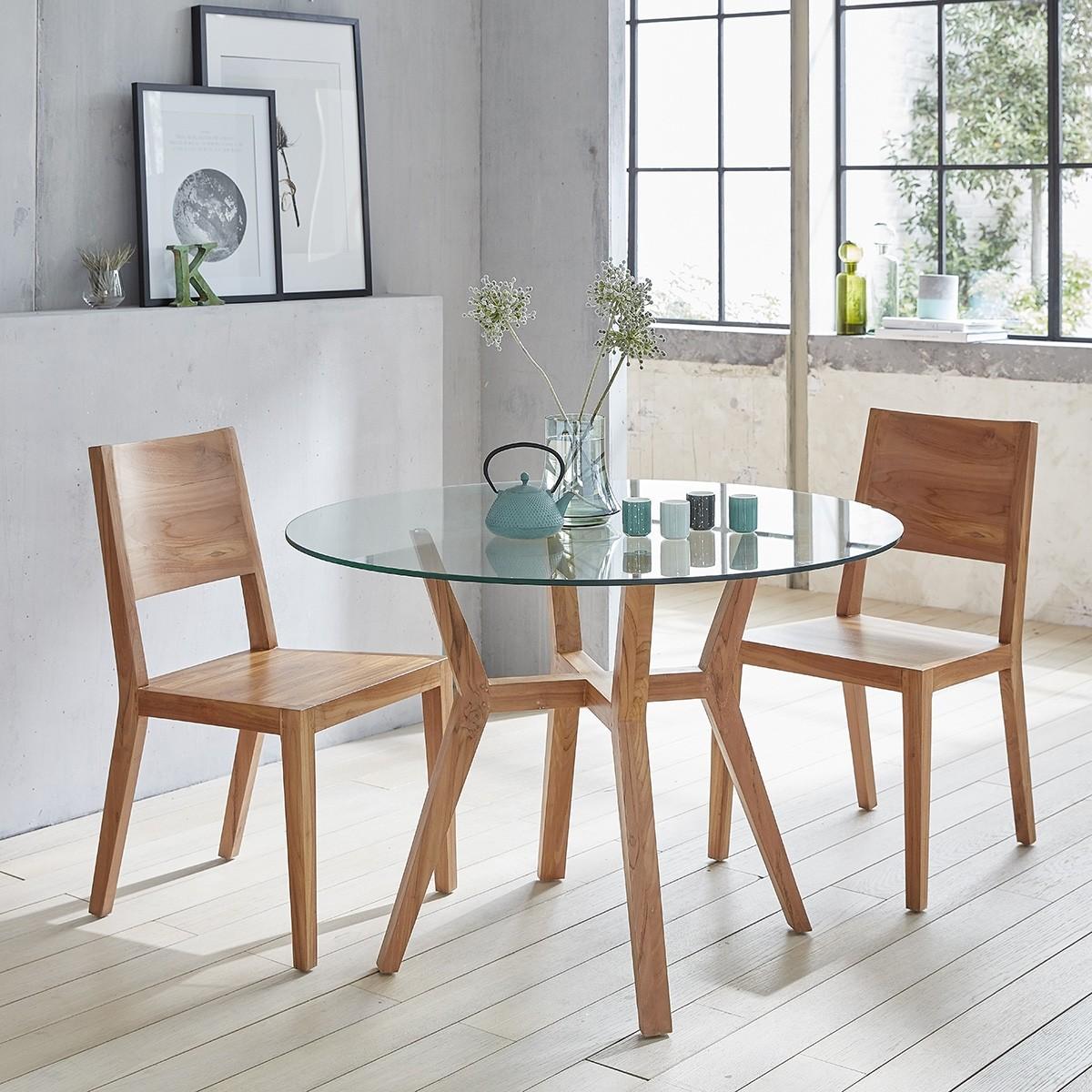 table ronde vitr e en bois de teck 110 bois dessus bois dessous. Black Bedroom Furniture Sets. Home Design Ideas
