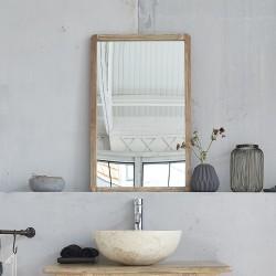 Miroir rectangulaire en bois d'hévéa 50