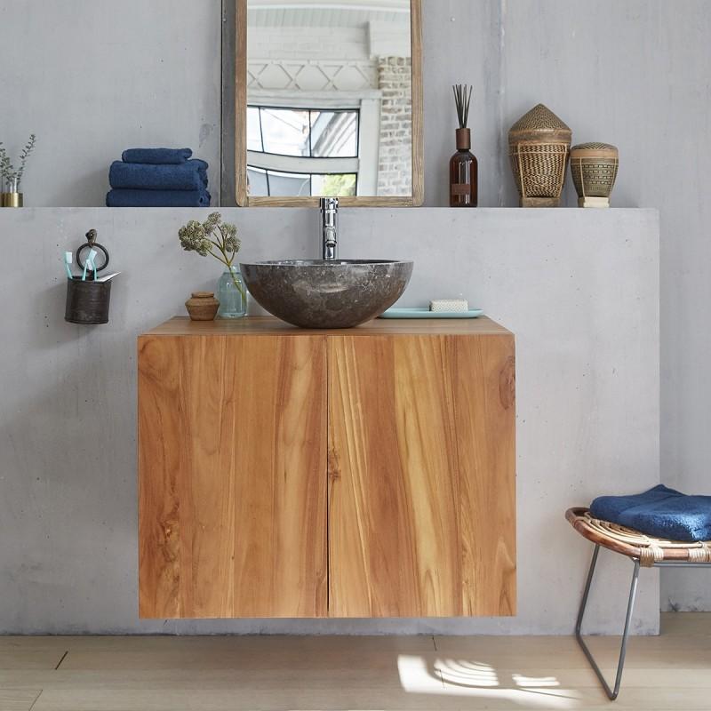 Meuble de salle de bain en bois de teck suspendu 80 bois dessus bois dessous - Meuble salle de bain bois suspendu ...