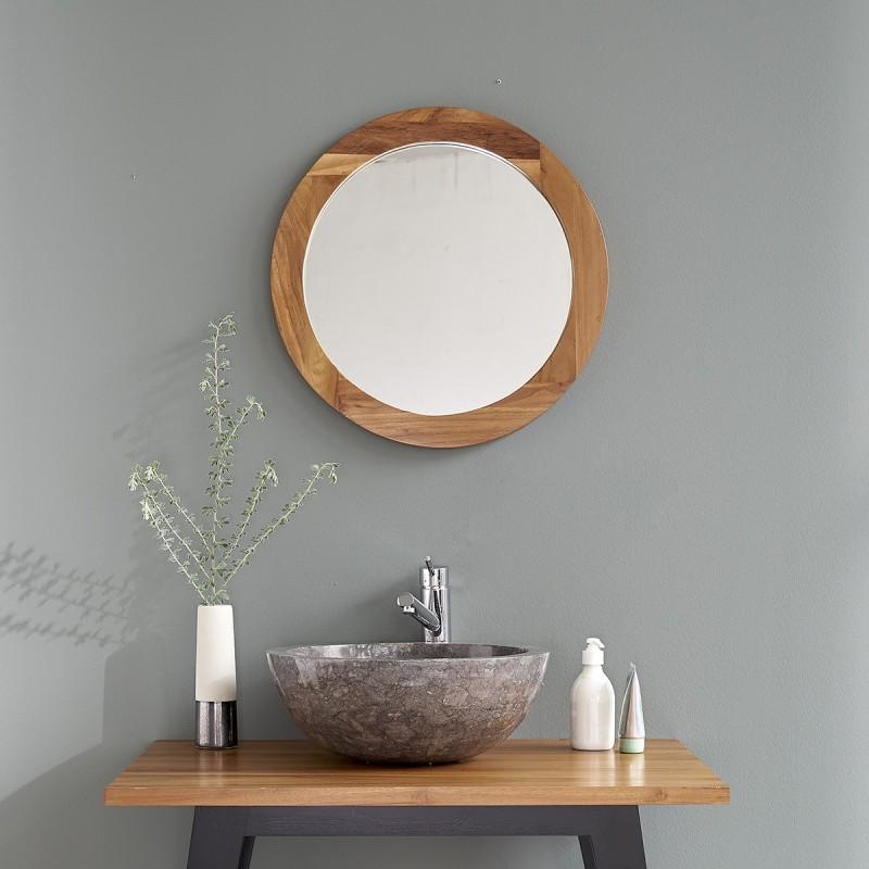 Miroir rond en bois de teck bois dessus bois dessous for Miroir rond bois