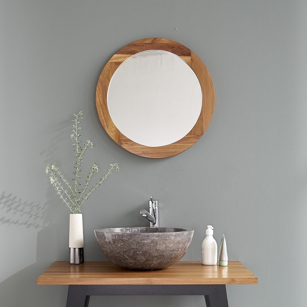 Miroir rond en bois de teck bois dessus bois dessous - Miroir salle de bain bois ...