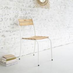 Chaise en bois d'acacia FSC et métal