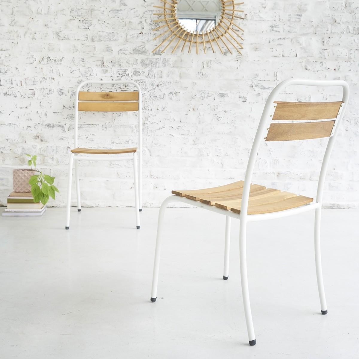 Chaise en bois d 39 acacia fsc et m tal bois dessus bois for Bois acacia exterieur