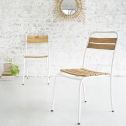 Lot de 2 chaises en bois d'acacia FSC et métal