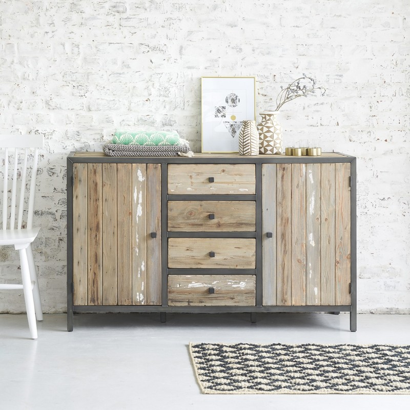 commode en bois de pin recycl et m tal 150 vintage bois. Black Bedroom Furniture Sets. Home Design Ideas