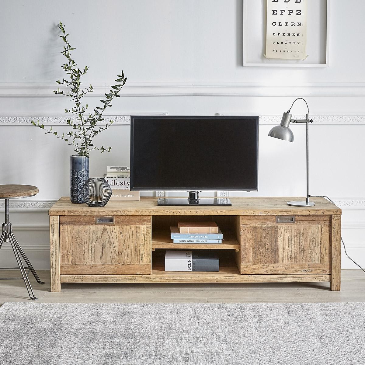 Quelle Hauteur Meuble Tv meuble tv en bois de teck recyclé 160 cargo   bois dessus