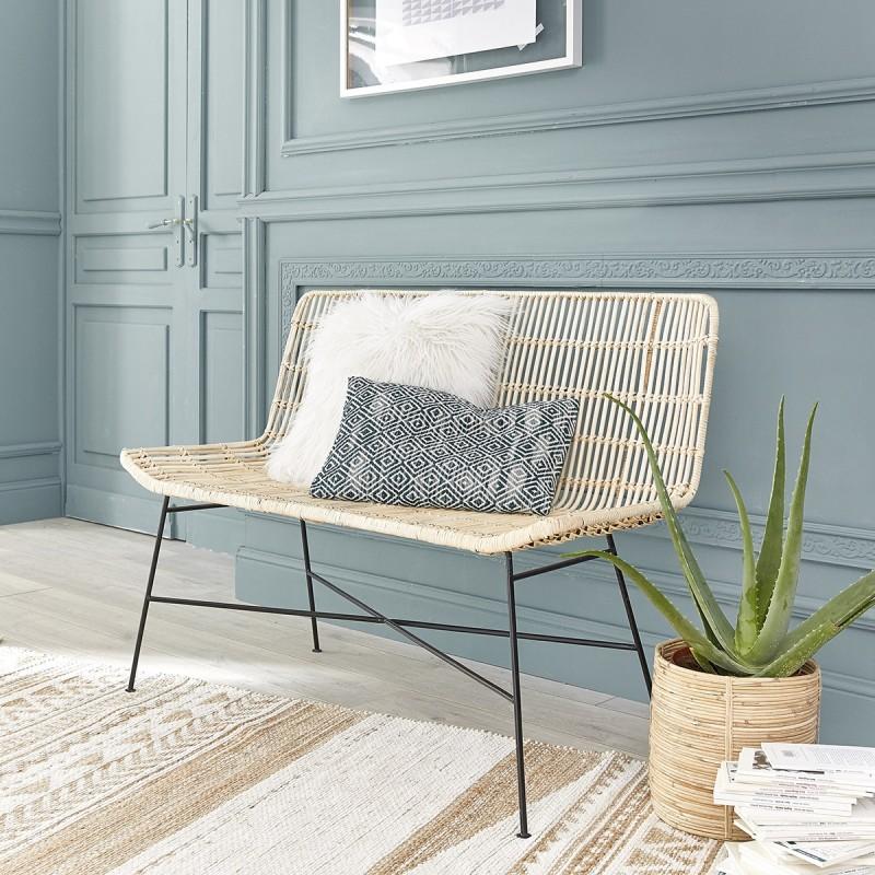 canap en rotin et m tal 120 bois dessus bois dessous. Black Bedroom Furniture Sets. Home Design Ideas